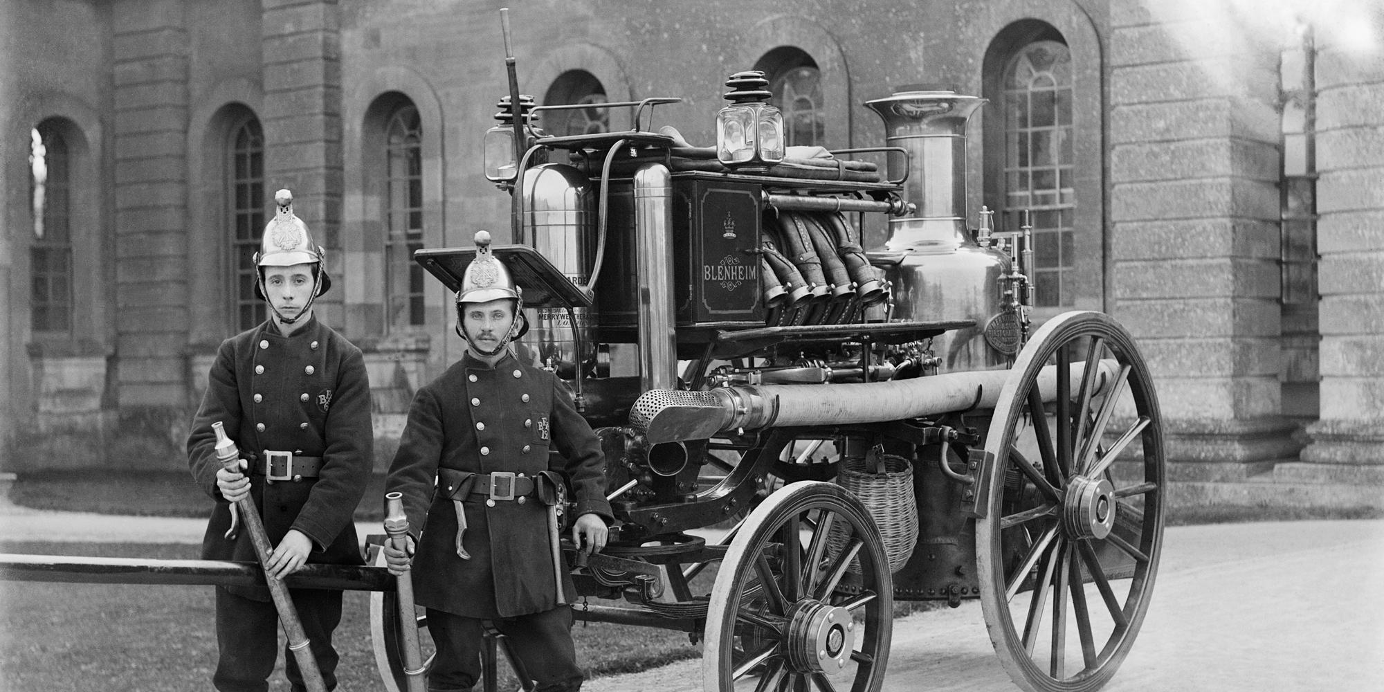 Blenheim Palace Fire Brigade with Merryweather Engine photograph by Henry Taunt