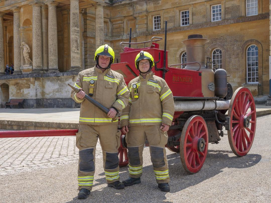 Firefighters Smith and Pidduck with the Merryweather fire engine at Blenheim Palace PIC Pete Seaward