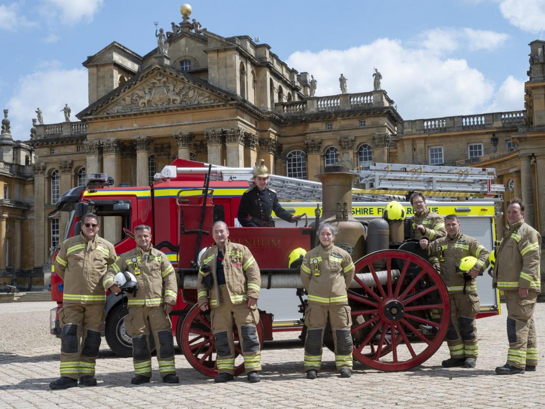 Firefighters from Oxfordshire Fire and Rescue with the restored Merryweather engine at Blenheim Palace PIC Pete Seaward