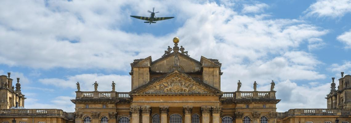 A lone Spitfire soars over Blenheim Palace to mark the 76th anniversary of VJ Day