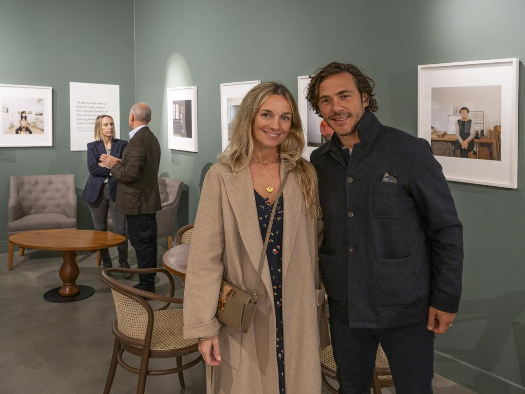 Singer songwriter Jack Savoretti and his wife the actress and artist Jemma Powell at the launch of Joanna Vestey's new exhibition in the Stables Cafe at Blenheim Palace